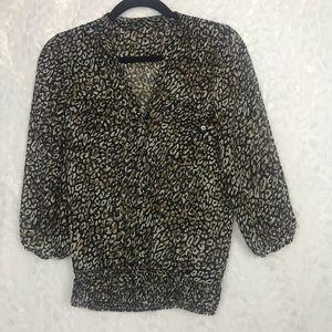 Zara Basic animal print blouse bubble sleeves SM